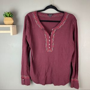 Lucky Brand thermal burgundy embroidered top sz XL
